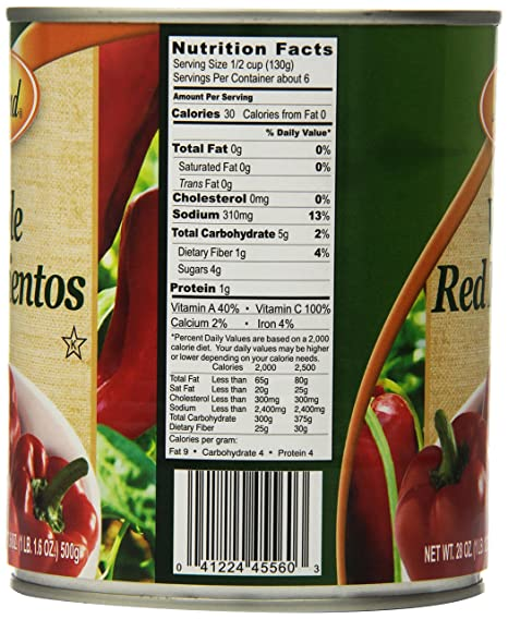 Roland Red Pimientos, Whole, 28 Ounce (Pack of 4)