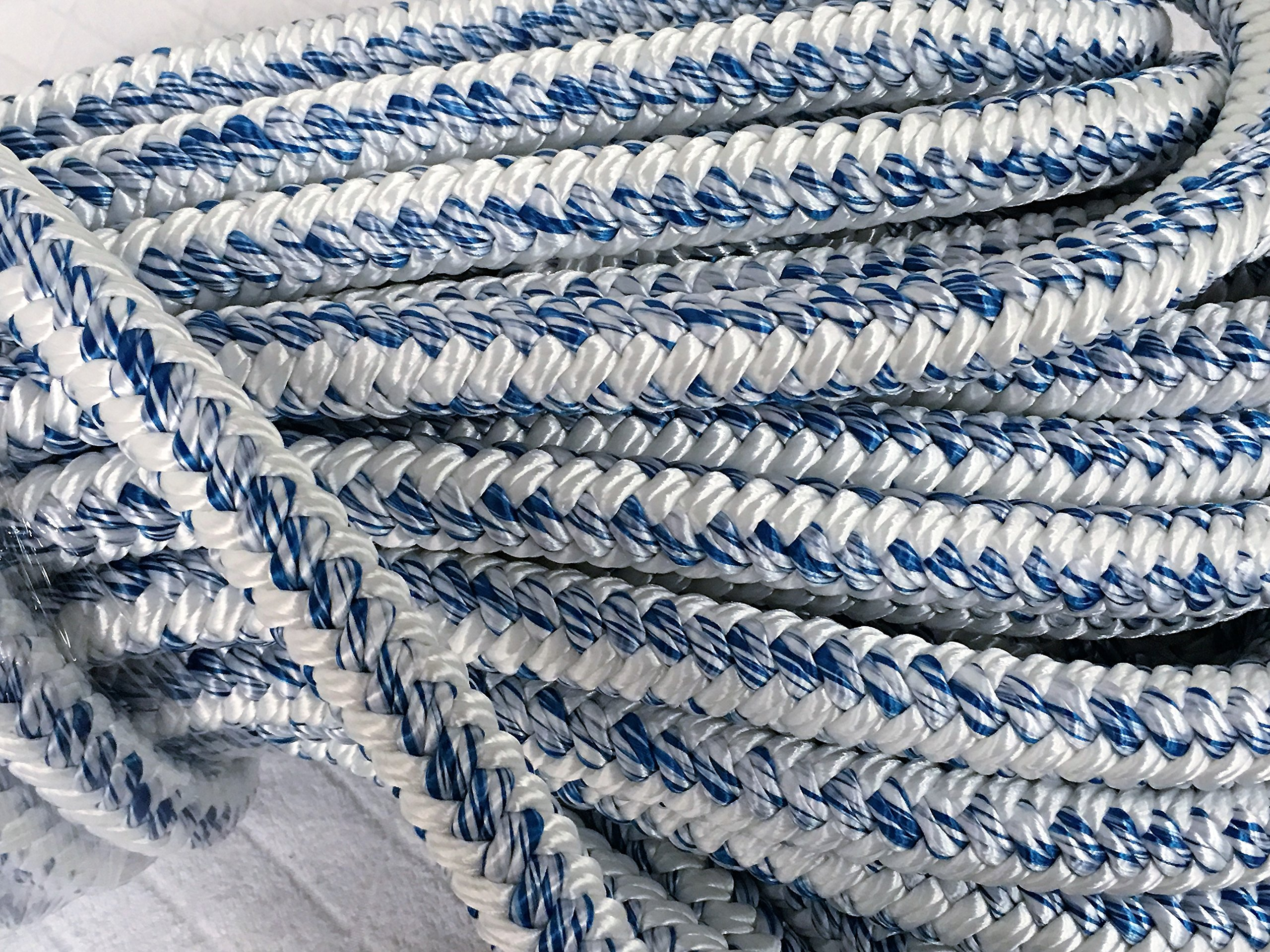 3/4'' X 100' 12 carrier, 24-strand Arborist Bull Rope, White/Blue by Blue Ox Rope