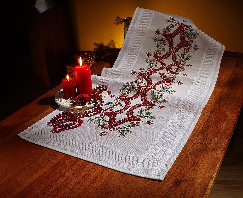 Komplette Stickpackung Läufer 40 x 100 cm  Spannstich Weihnachten