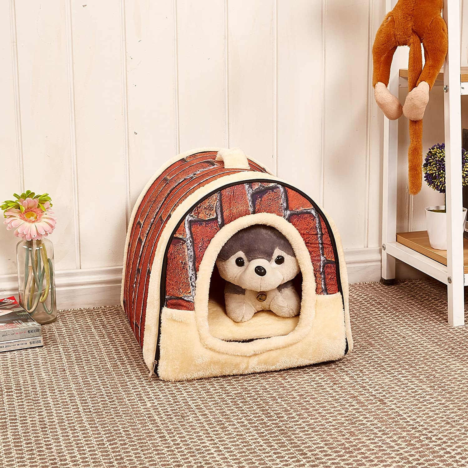 Amazon.com: ANPI 2 en 1 casa de perro Gato Igloo, plegable ...