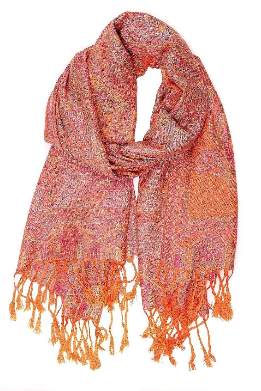 2-Brown Avril colorful allover Paisley Pashmina//Shawl//Wrap//Stole Sakkas CHS1611 OS