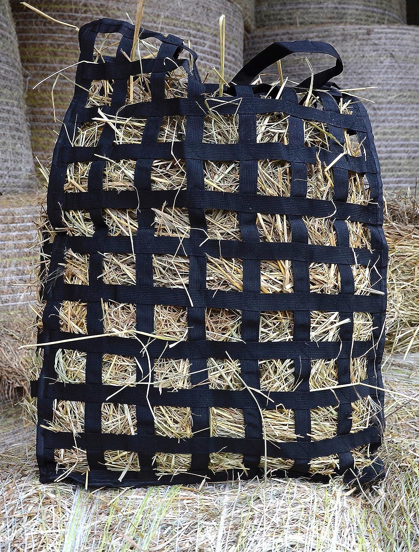 Heunetz Filet à Foin Cheval & bétail Fond renforcé très résistant pour Alimentation modérée - Mailles 5 * 5cm - Dim: 55cm*78cm*18cm - Sangles intégrées avec mousquetons 5hours