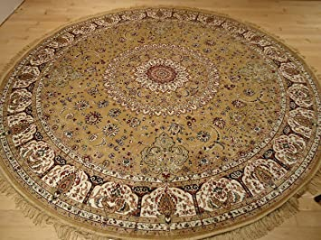 Persian Silk Gold Round Rug 6x6 Circle Shape Rugs Floor Carpet Living Room  Round Silk Area