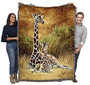 Pure Country Weavers Giraffe and Calf Woven Large Soft Comforting Throw Blanket with Artistic Textured Design Cotton USA 72x54