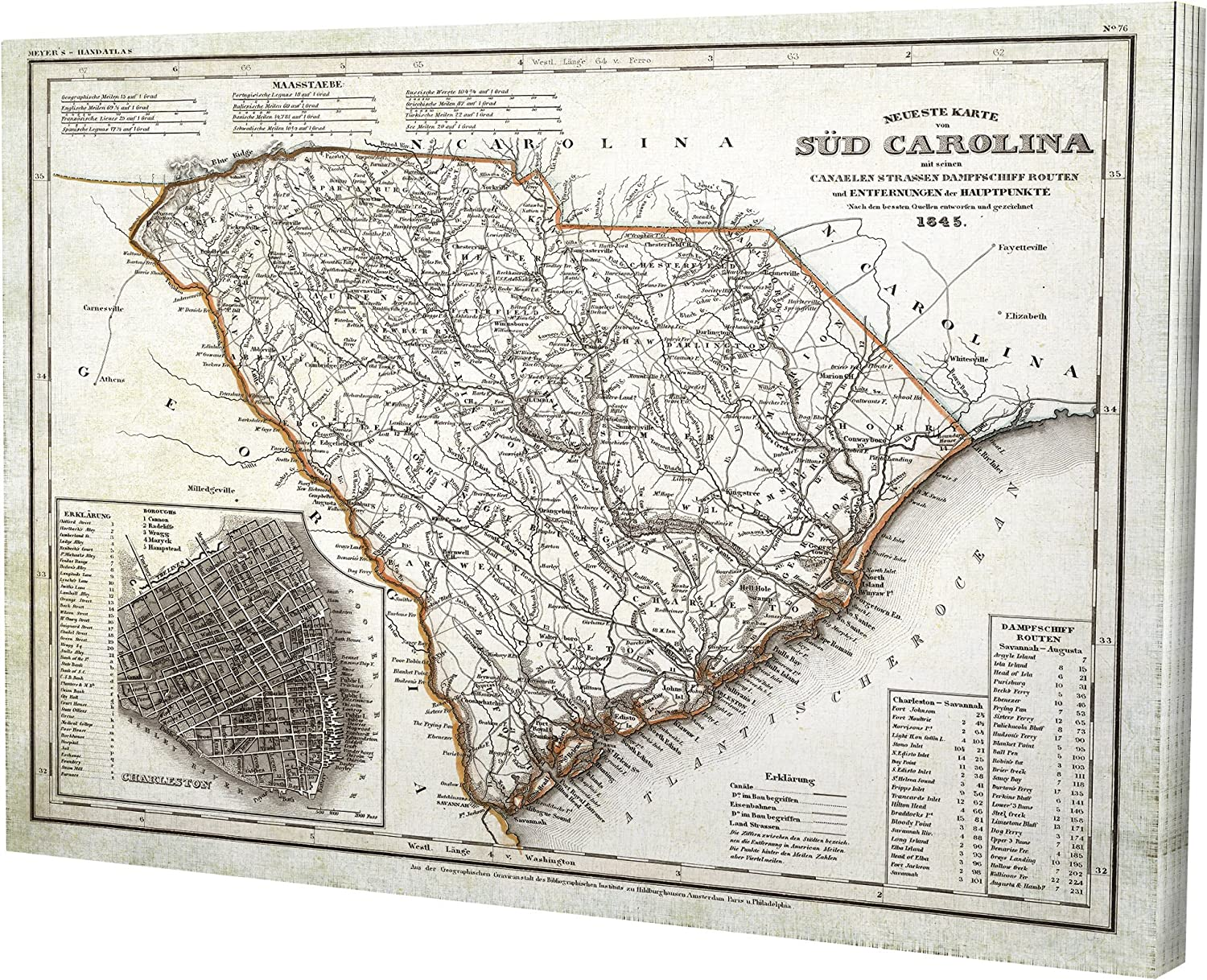WEXFORD HOME Vintage Map South Carolina I Gallery Wrapped Canvas Wall Art, 16x20,