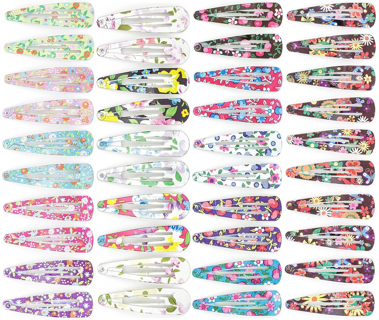 40 barrettes, motifs floraux (4 x 10 barrettes = 40 pièces) Rixin