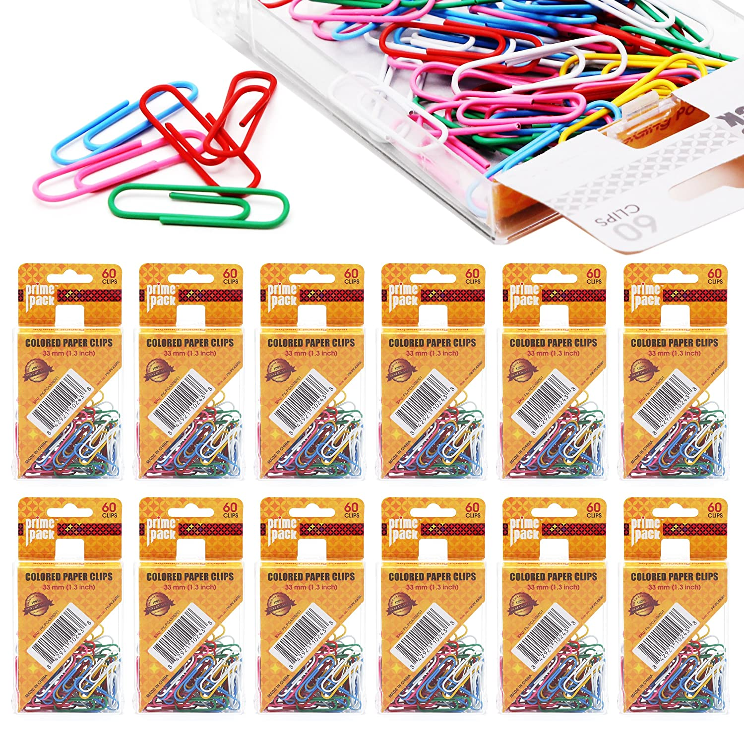 PRIMEPACK Vinyl Coated Paper Clips | Standard Size, Assorted Colors - Durable with Superior Holding Power - Perfect for School, Office and Home Use - 720 Pack GRANDEGO