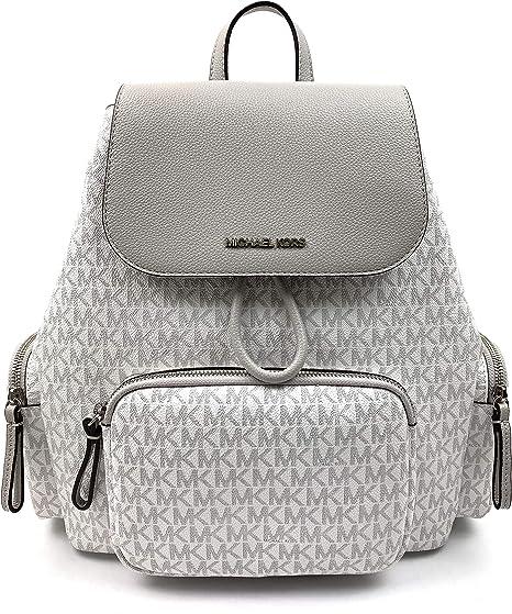 Michael Kors Abbey Large Signature Cargo Backpack (Aluminum ...