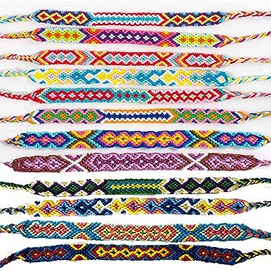 059cbd4b0fb2 Airven 12 pulseras trenzadas de la amistad de Nepal hechas a mano para  hombres y mujeres, coloridas muñecas tejidas en el tobillo, festival,  cordones ...