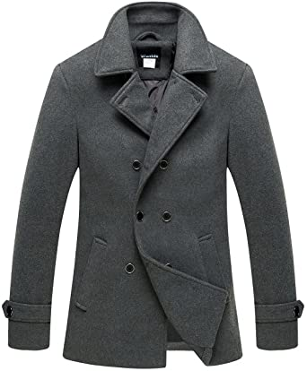 dd5a0f036995 Wantdo Men s Classic Peacoat Military Double Breasted Winter Warm Overcoat  Grey Small