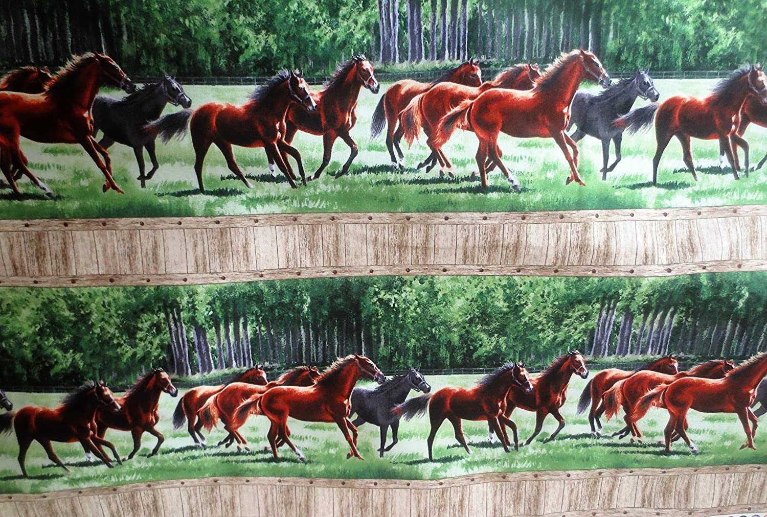 Pleasant Pastures Horses Within A Fence Northcott Cotton Fabric 21415-74