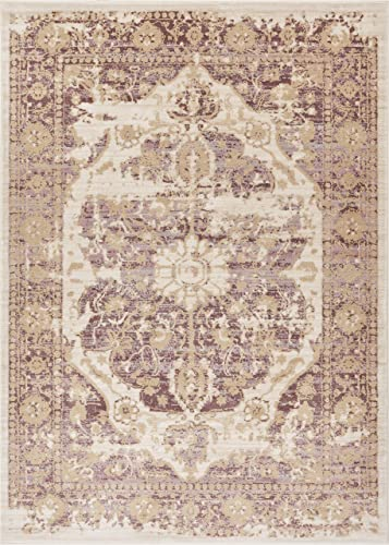 Well Woven Kensington Maxwell Lavender Modern Medallion Antique Vintage Distressed Area Rug 9 3 x 12 6