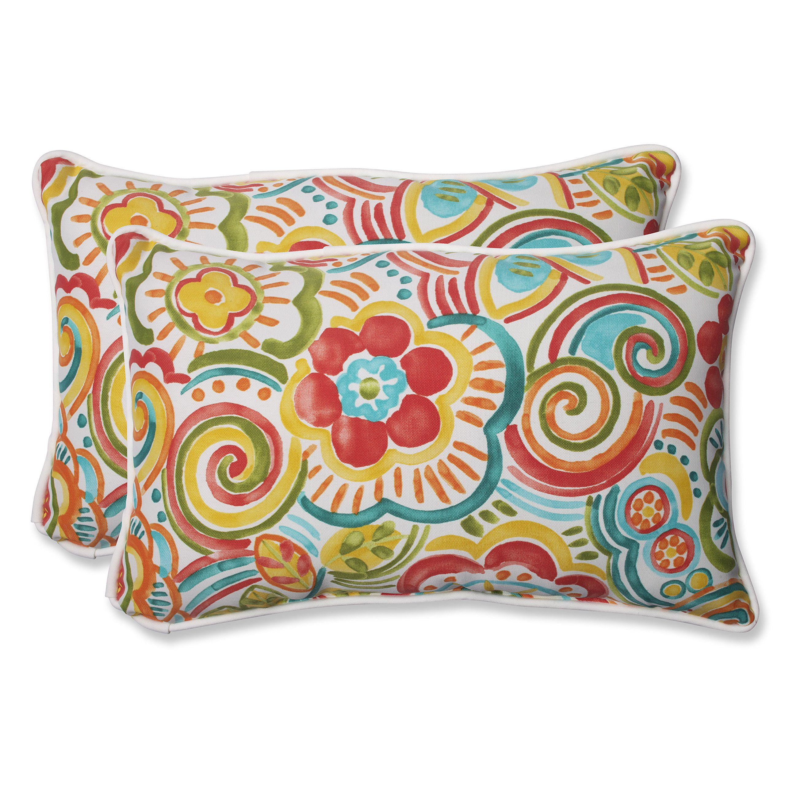 Pillow Perfect 569062 Outdoor Bronwood Carnival Rectangular Throw Pillow, 11.5'' x 18.5'', Multicolored