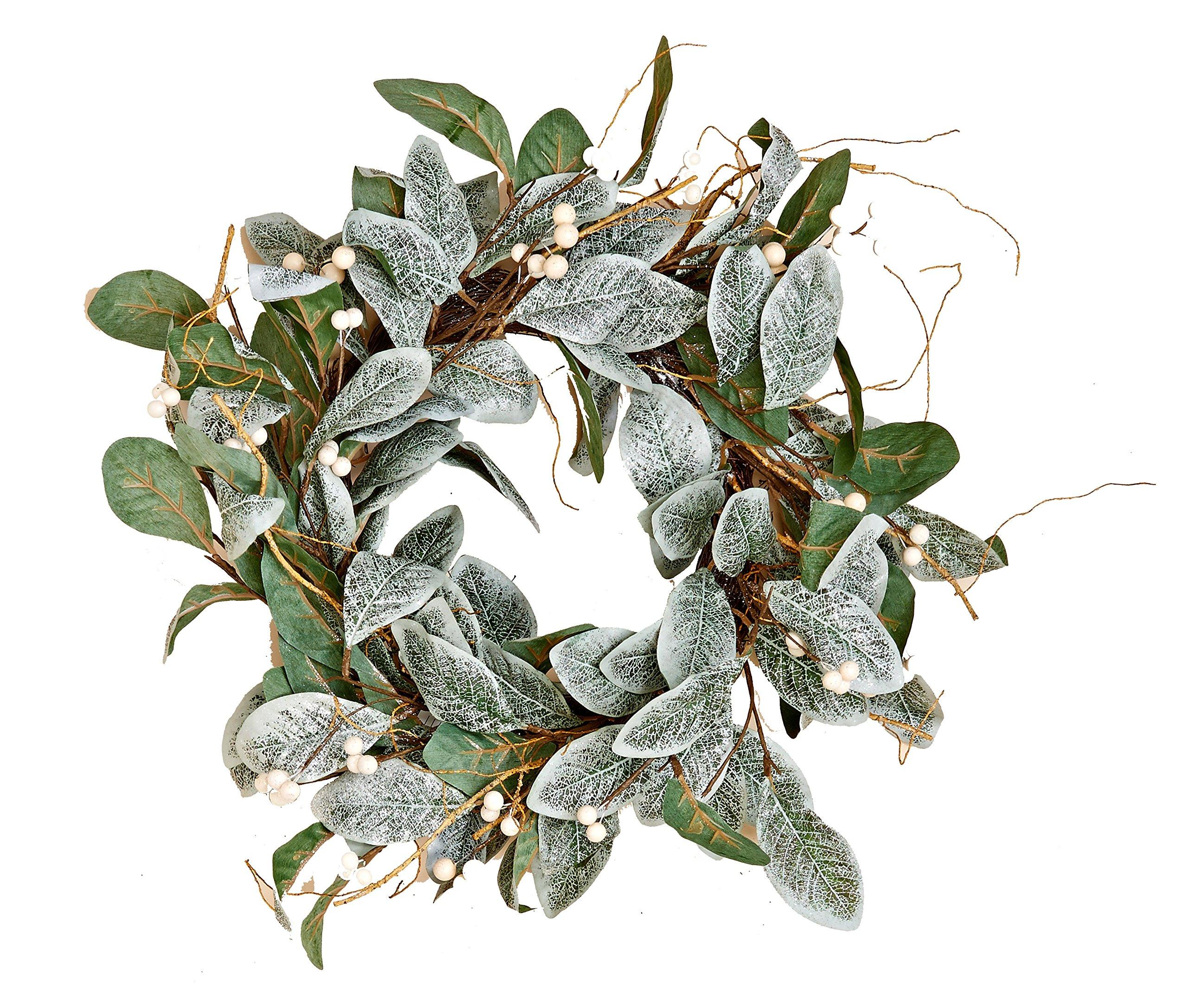 Worth Imports 22'' Magnolia Leaves Wreath w/White Berries,