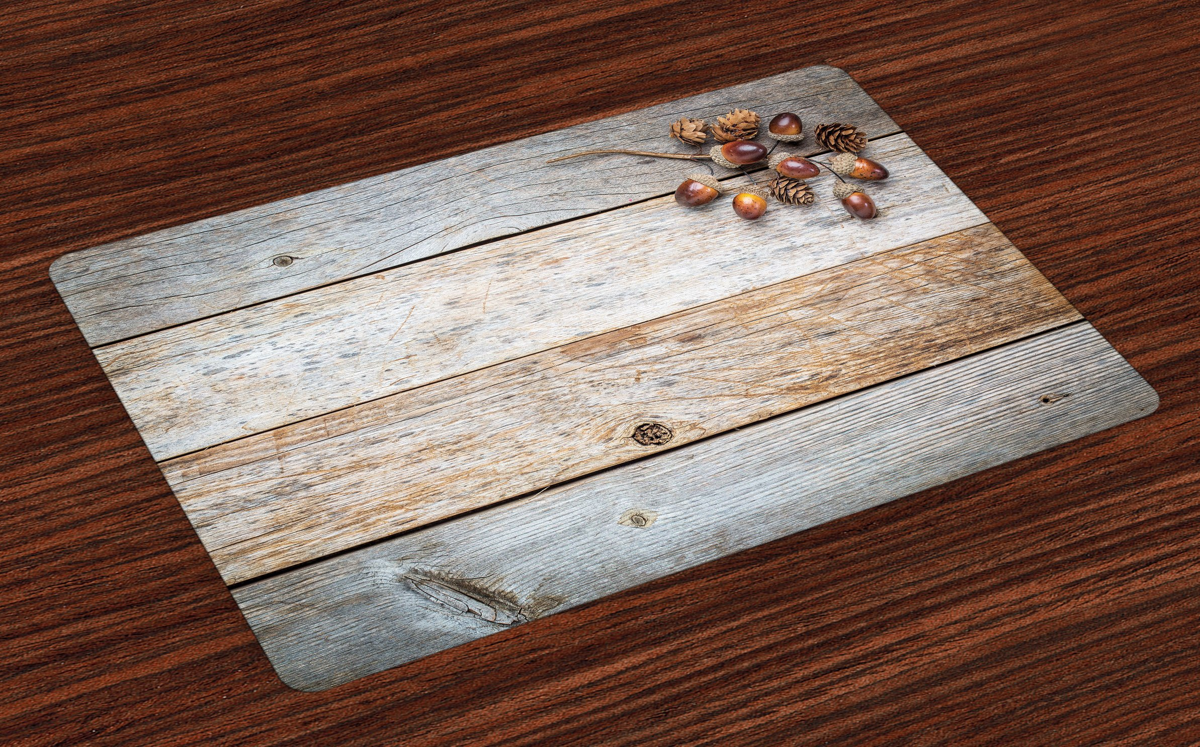 Ambesonne Rustic Place Mats Set of 4, Acorns and Cones on Weathered and Grained Wood Print Background Timber Autumn Theme Image, Washable Fabric Placemats for Dining Room Kitchen Table Decor, Brown