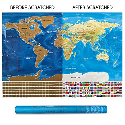 Amazon scratch off world map poster with countries flags scratch off world map poster with countries flags track your trips share your adventures gumiabroncs Gallery