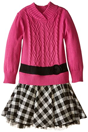 a3647831a0a Amazon.com  Bonnie Jean Little Girls  Dress Cable Knit Sweater To ...