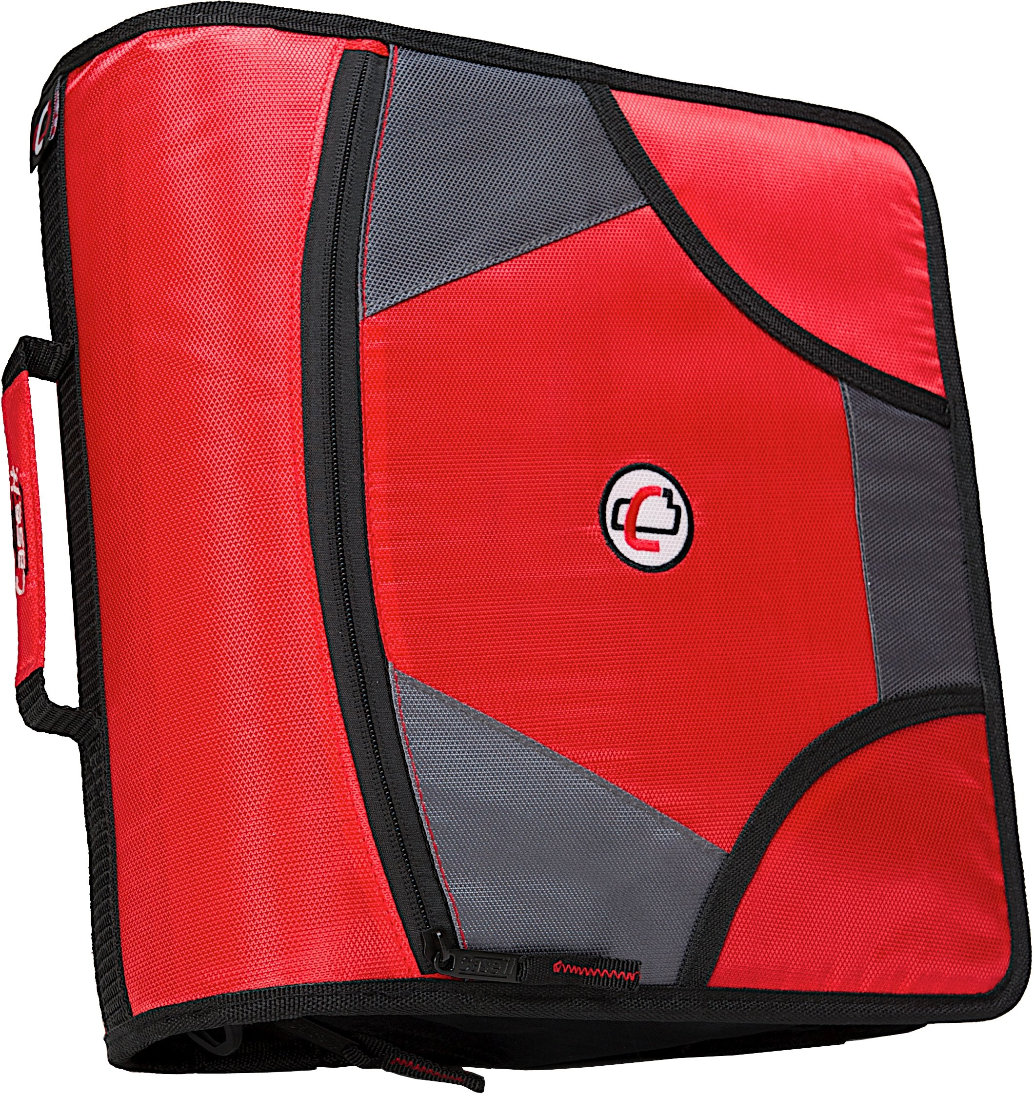 Case-it King Sized Zip Tab 4-Inch D-Ring Zipper Binder with 5-Tab File Folder, Red, D-186-RED