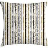 Ambesonne Striped Throw Pillow Cushion Cover, Vertical Lines with Round Circle Shapes Victorian Inspired Designed Art Print, Decorative Square Accent Pillow Case, 16 X 16 inches, Black Golden