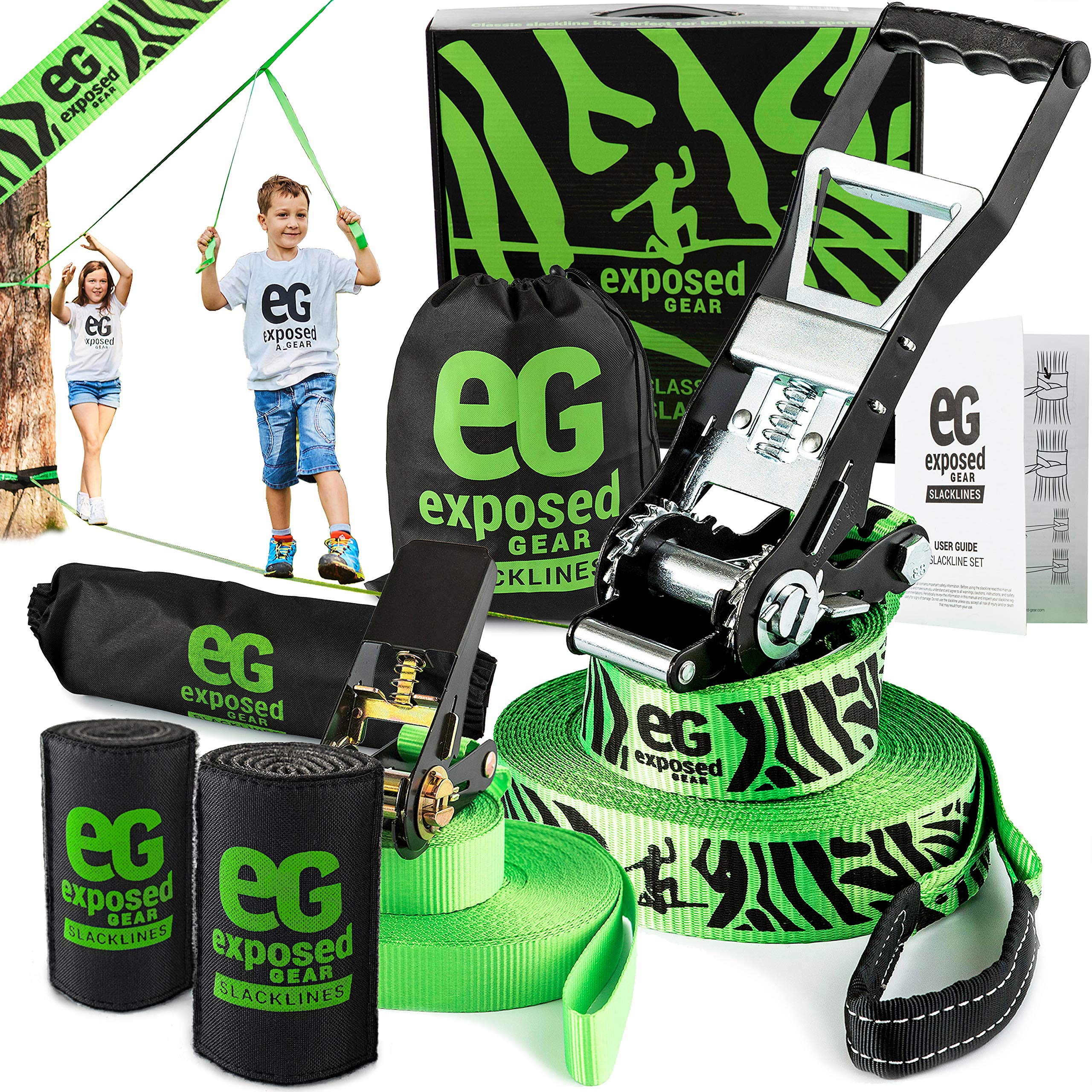 Slackline Kit 60ft with Training Line Tree Protectors High Grade Ratchet + Cover Arm Trainer Set Up Instruction Booklet and Carry Bag | Complete Slack Line Set | Perfect Slackline For Kids and Adults by Exposed Gear