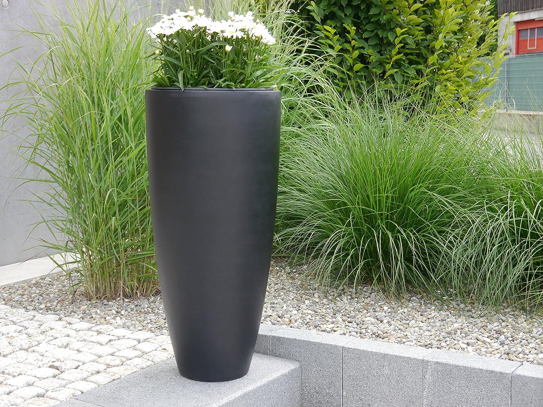 Pflanzkübel CIGAR Ø47x H100cm aus Fiberglas in schwarz-anthrazit, Blumenkübel, Pflanztöpfe