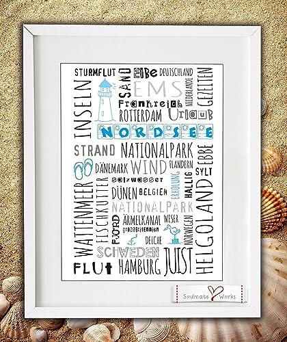 8956d1340fad4 Kunstdruck quot Nordsee Wort-Wolke quot  (nur Druck - ohne Rahmen) mit  vielen