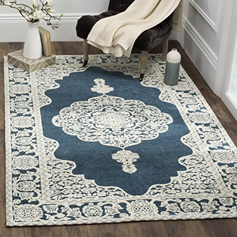 Safavieh Marbella Collection MRB615D Flat Weave Dark Blue and Ivory Area Rug (8 x 10)