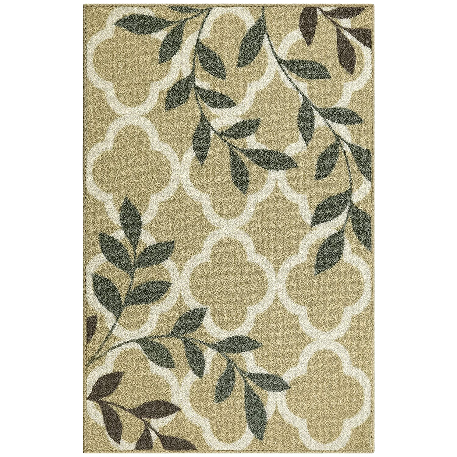 Maples Rugs Kitchen Vera 18 x 210 Non Skid Small Accent Throw Rugs Made in USA for Entryway and Bedroom Neutral