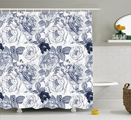Ambesonne Shabby Chic Shower Curtain, Garden Spring Roses Buds With Leaves  Flowers Romantic Image Artwork