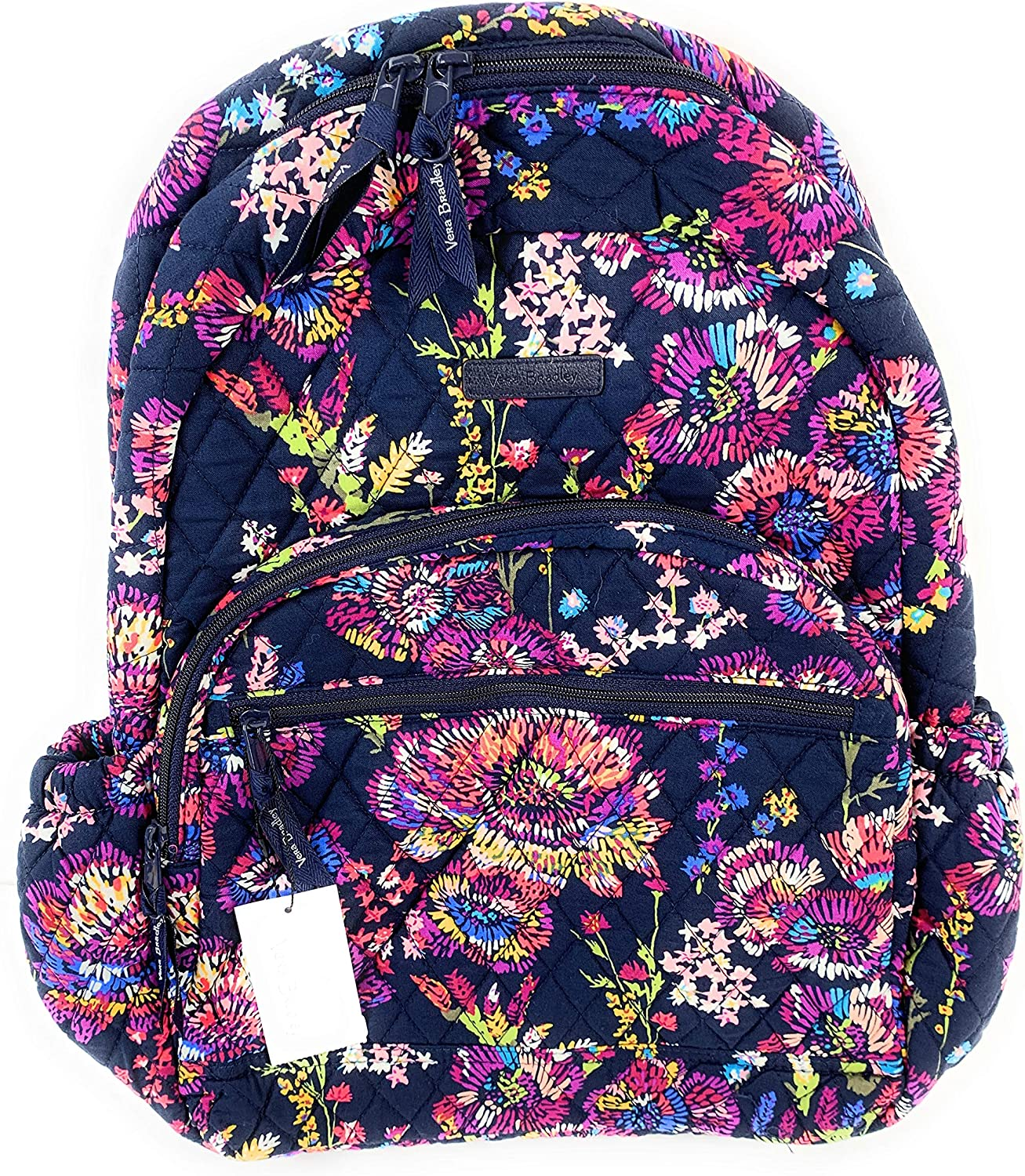Vera Bradley Essential Backpack Quilted Cotton Midnight Wildflowers