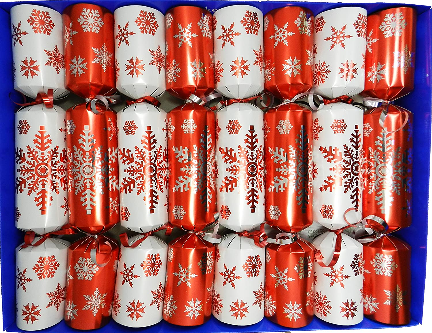 Set of 8 Family Fun Magic Tricks Christmas Crackers - Red Snowflake Design by Crackers Ltd (Cat F1)