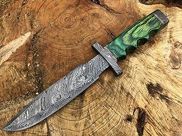 Perkin Knives Damasco Cuchillo de Caza de Acero Hecho a Mano ...