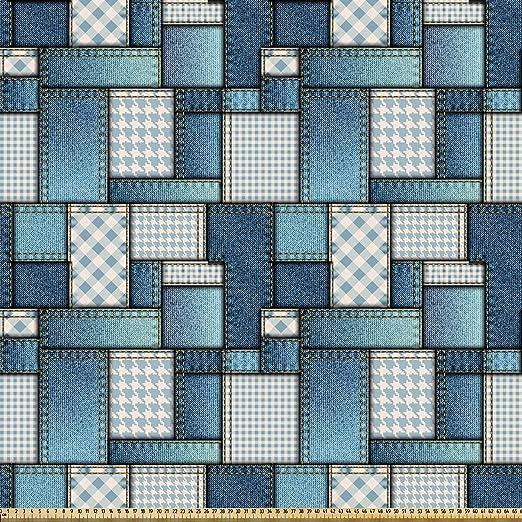 ABAKUHAUS Tela Tela por Metro, Figuras De Costura Del Dril De Algodón, Microfibra Decorativa para Artes y Manualidades, 10M (230x1000cm), Azul Y Azul Bebé: Amazon.es ...