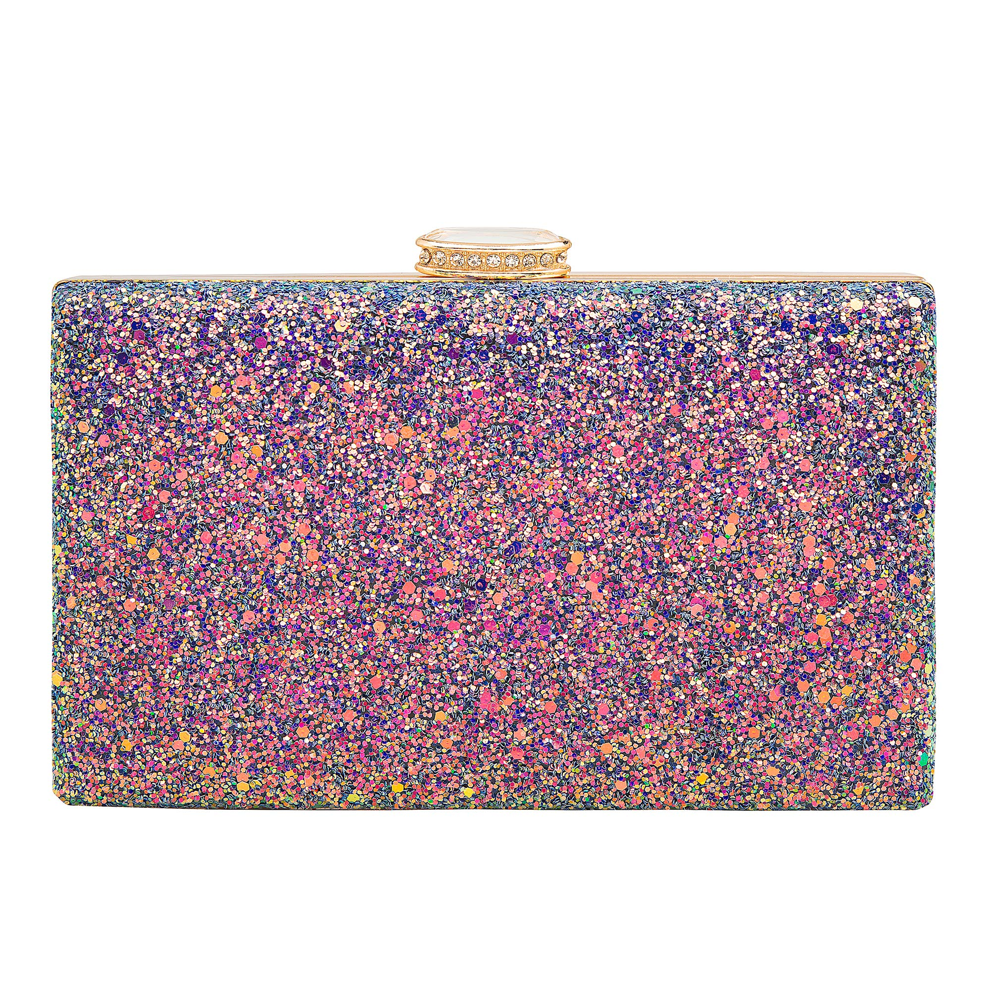 Women's Elegant Sparkling Glitter Evening Clutch Bags BlingEvening Handbag Purses For Wedding Prom Bride(Purple)