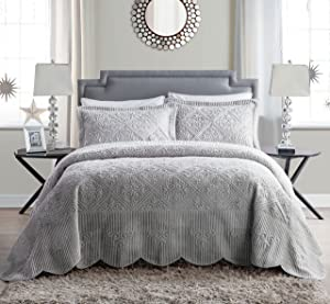 VCNY Home Westland Soft Plush Quilted 3-Piece Bedspread Set, King, Grey