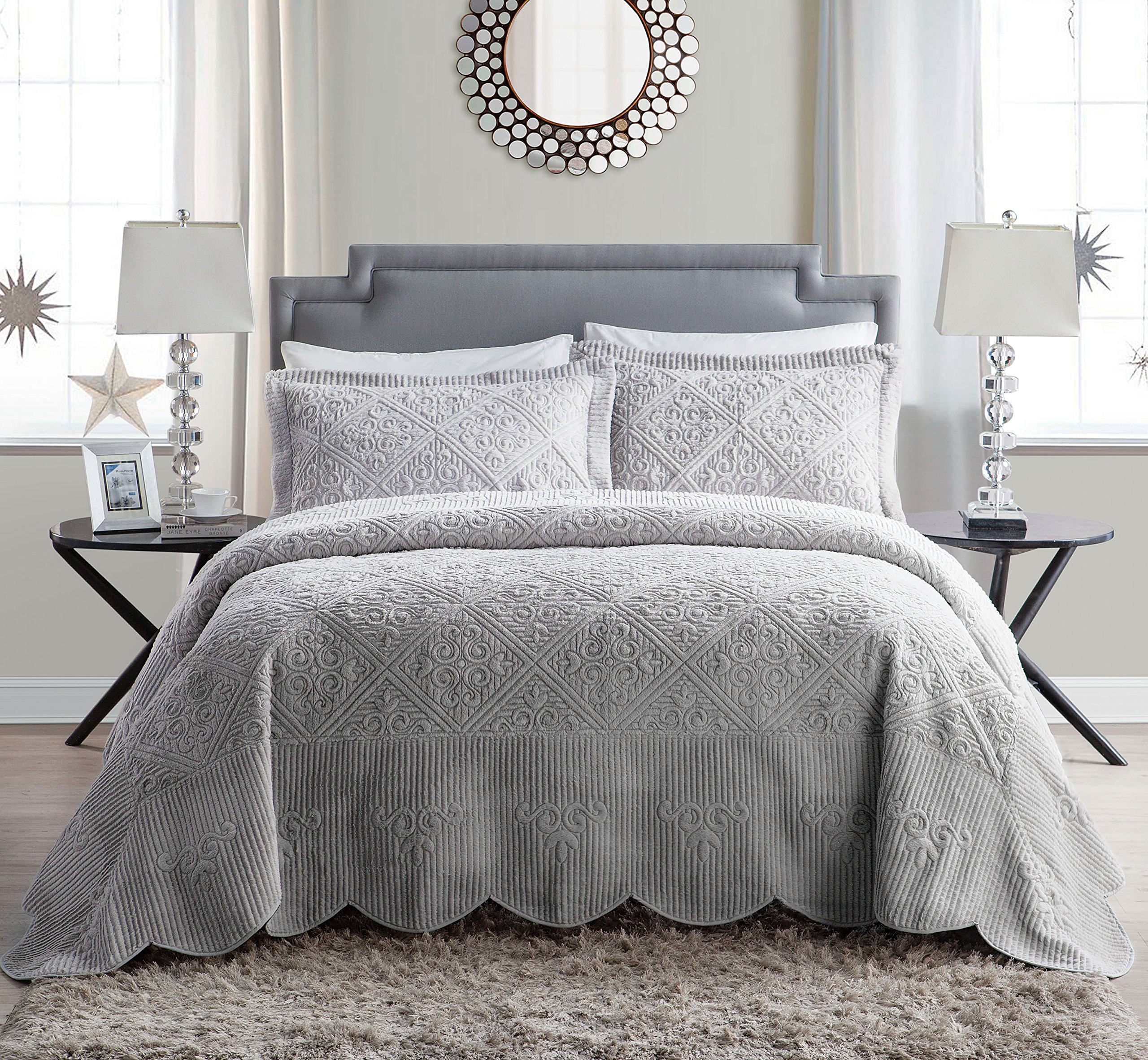 VCNY Home WS1-3BP-KING-IN-GV Westland Plush Quilted 3-Piece Bedspread Set, King, Grey