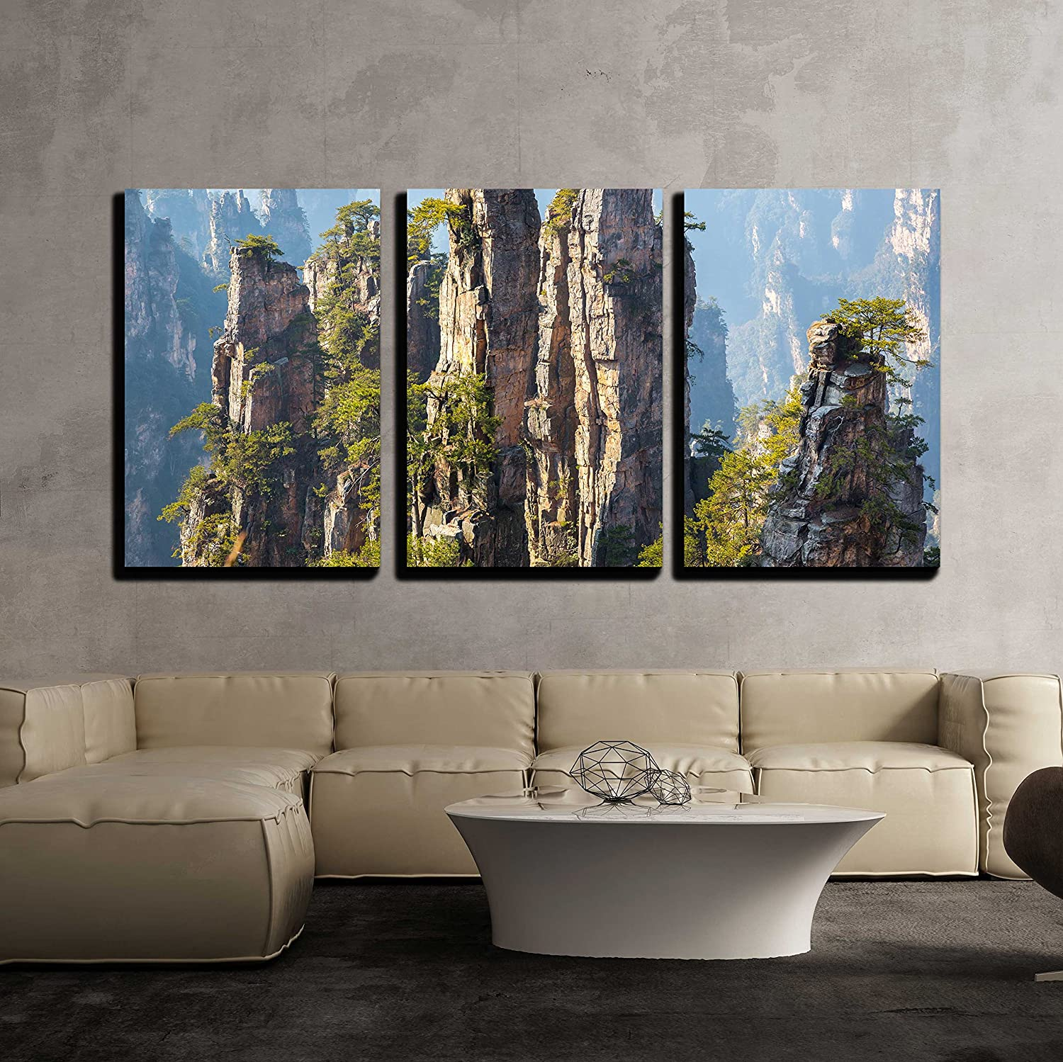 """wall26 - 3 Piece Canvas Wall Art - Zhangjiajie National Forest Park at Wulingyuan Hunan China - Modern Home Decor Stretched and Framed Ready to Hang - 24""""x36""""x3 Panels"""