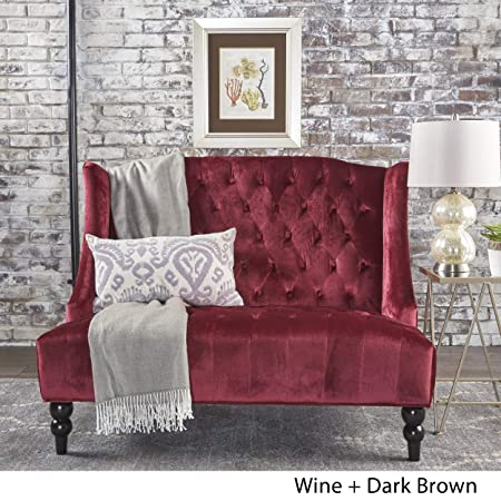 GDFStudio 301396 Leona Traditional High Back Tufted Winged Fabric Loveseat Wine ,