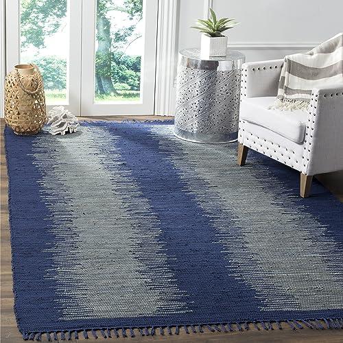 Safavieh Montauk Collection MTK718H Handmade Flatweave Navy Cotton Area Rug 8 x 10