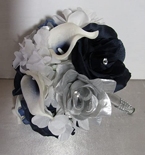Amazon Com Navy Blue Silver White Rhinestone Rose Calla Lily Bridal