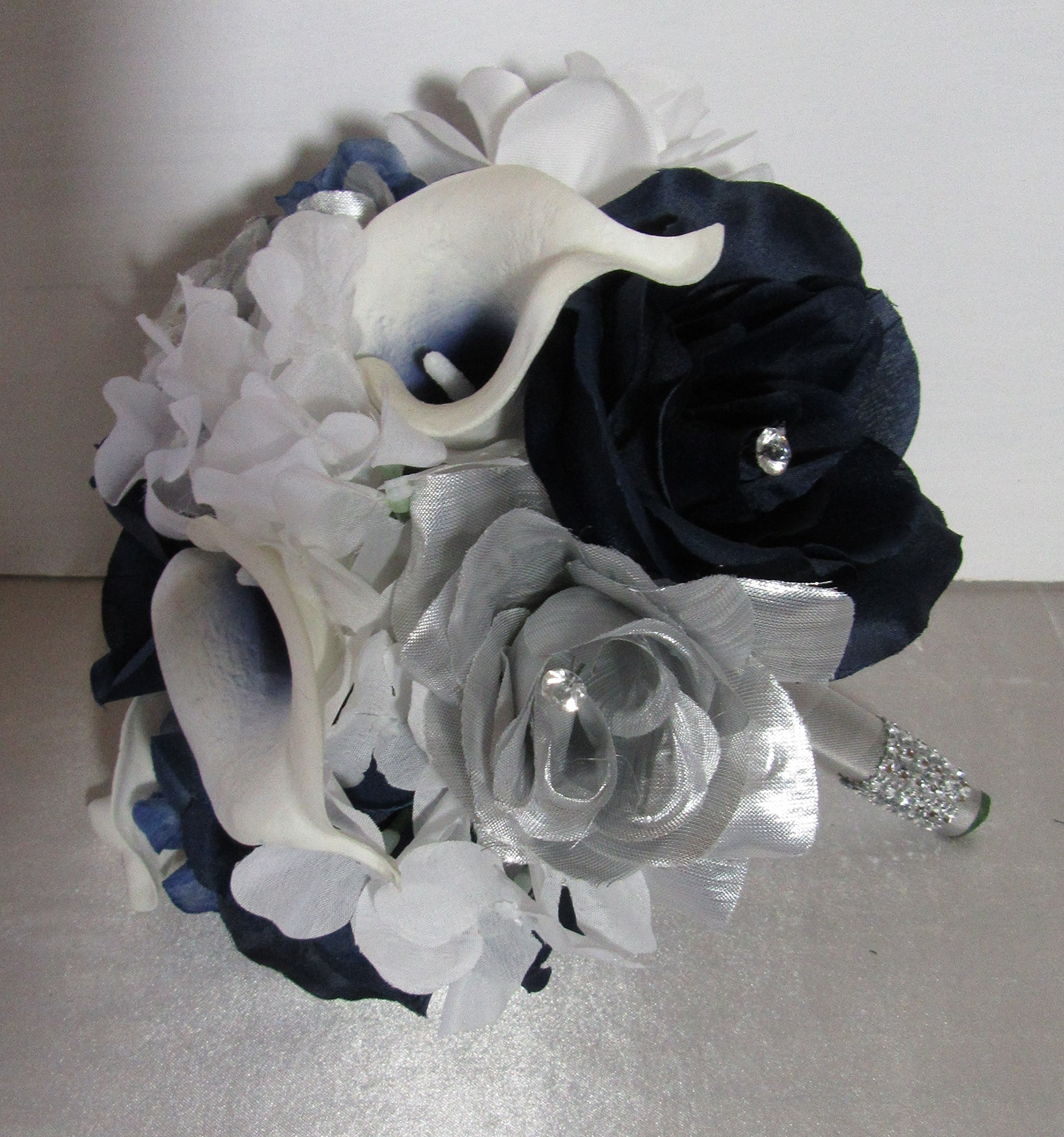 Navy Blue Silver White Rhinestone Rose Calla Lily Bridal Wedding Bouquet Boutonniere Silk Flower Arrangements