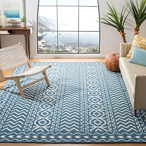 Safavieh Dhurries Collection DHU572A Hand Woven Dark Blue and Ivory Premium Wool Area Rug 6 x 9