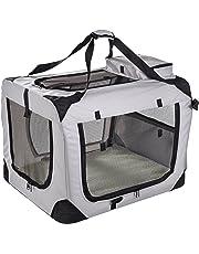MOOL Lightweight Fabric Pet Carrier Crate with Fleece Mat and Food Bag, Large, 70 x 52 x 52 cm, Grey