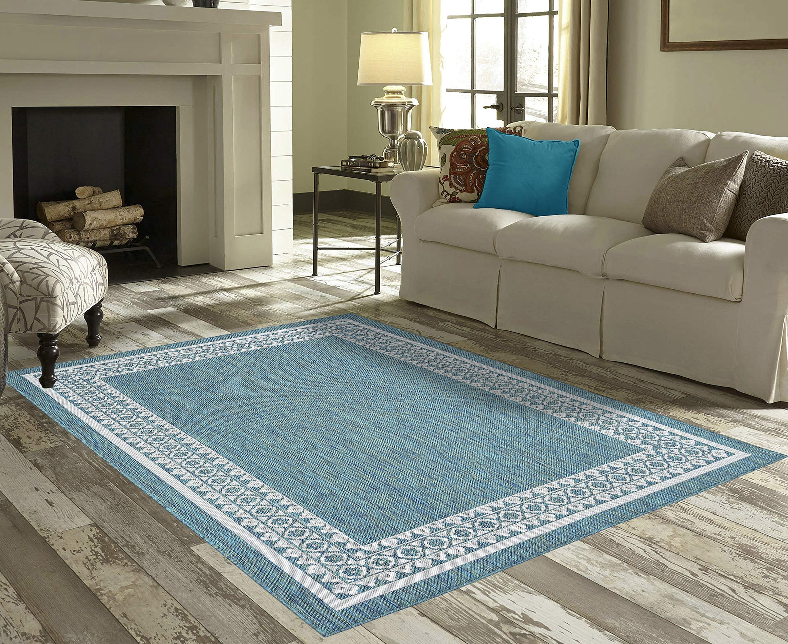 Priyate Florida Collection - All Weather Indoor/Outdoor Border Rug for Living Room, Bedroom, and Dining Room (5'3'' x 7'6'', Ocean) by Priyate