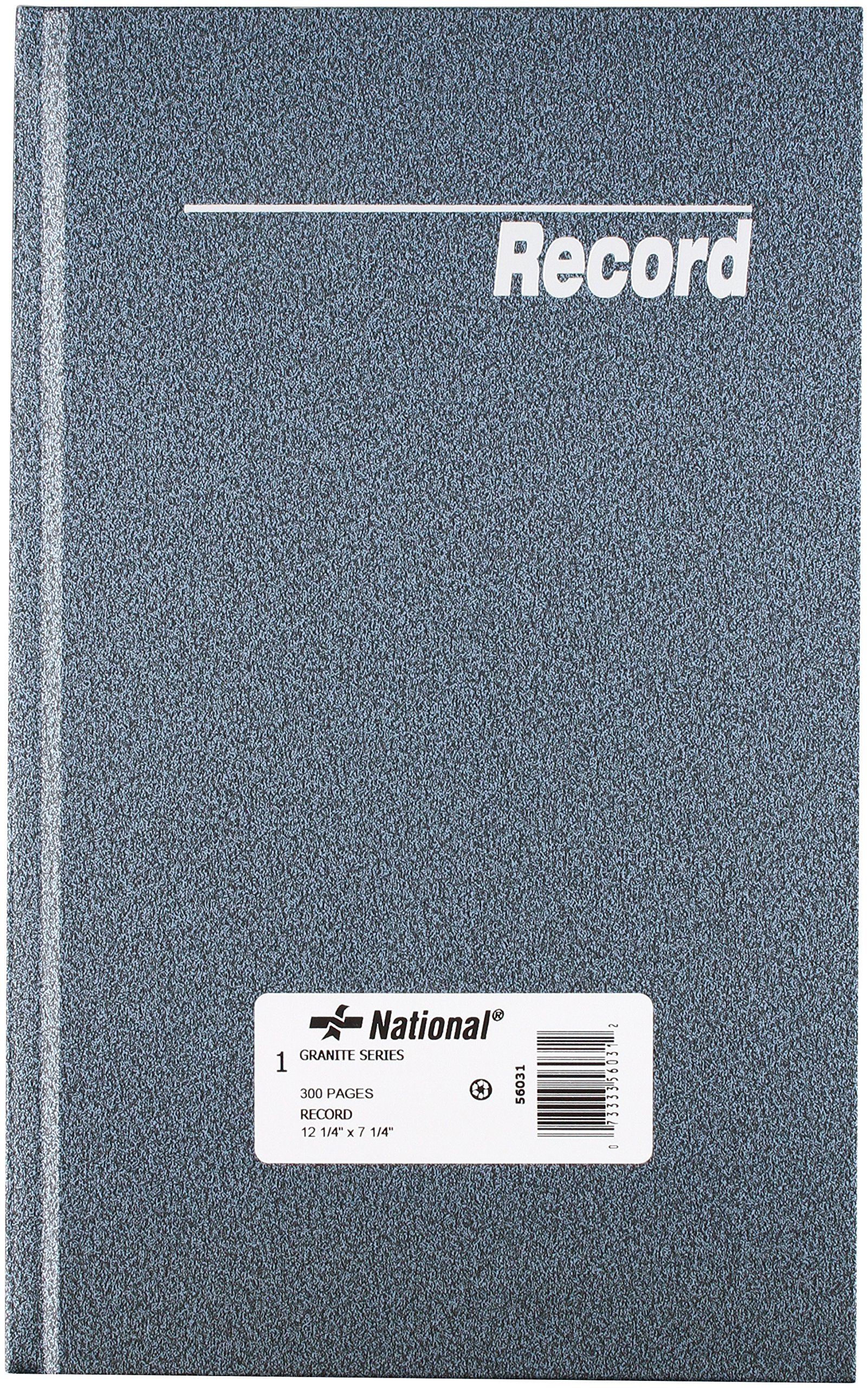NATIONAL Granite Series Record Book, Patina Blue, 12.25 x 7.25'', 300 Pages (56031)