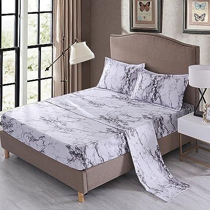 Mengersi Marble Sheet Set   White Luxury Hotel Bed Sheets   Extra Soft    Deep Pockets