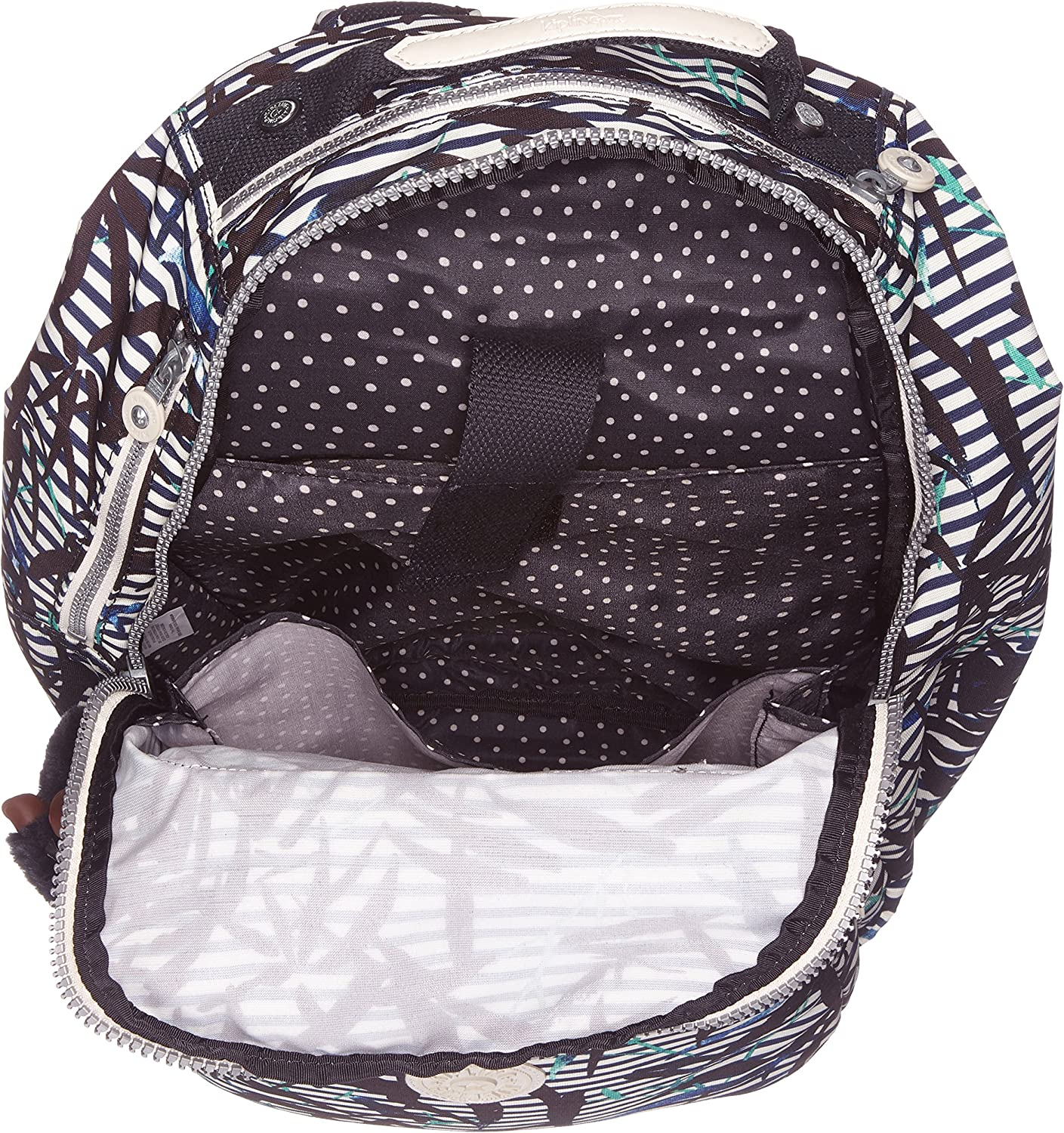 Kipling Clas Seoul Zaino, 25 liters, Grigio (Cotton Grey) Multicolore (Bamboo Stripes) JTmD7