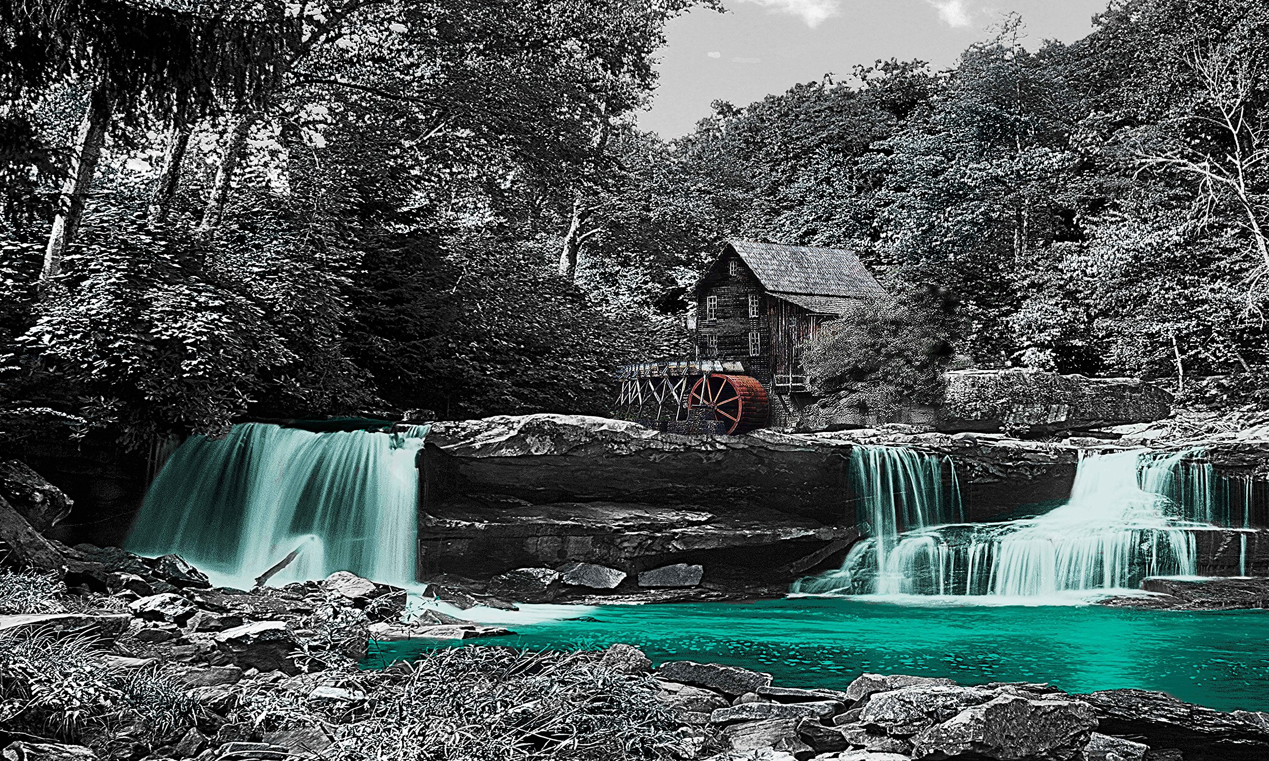 River Mill - Teal Brown/Gray Background Canvas Wrapped Home Decor Wall Art Water Falls Pictures on Canvas. Wall art for Living Room Bedroom Home Office (20x40, Gray)