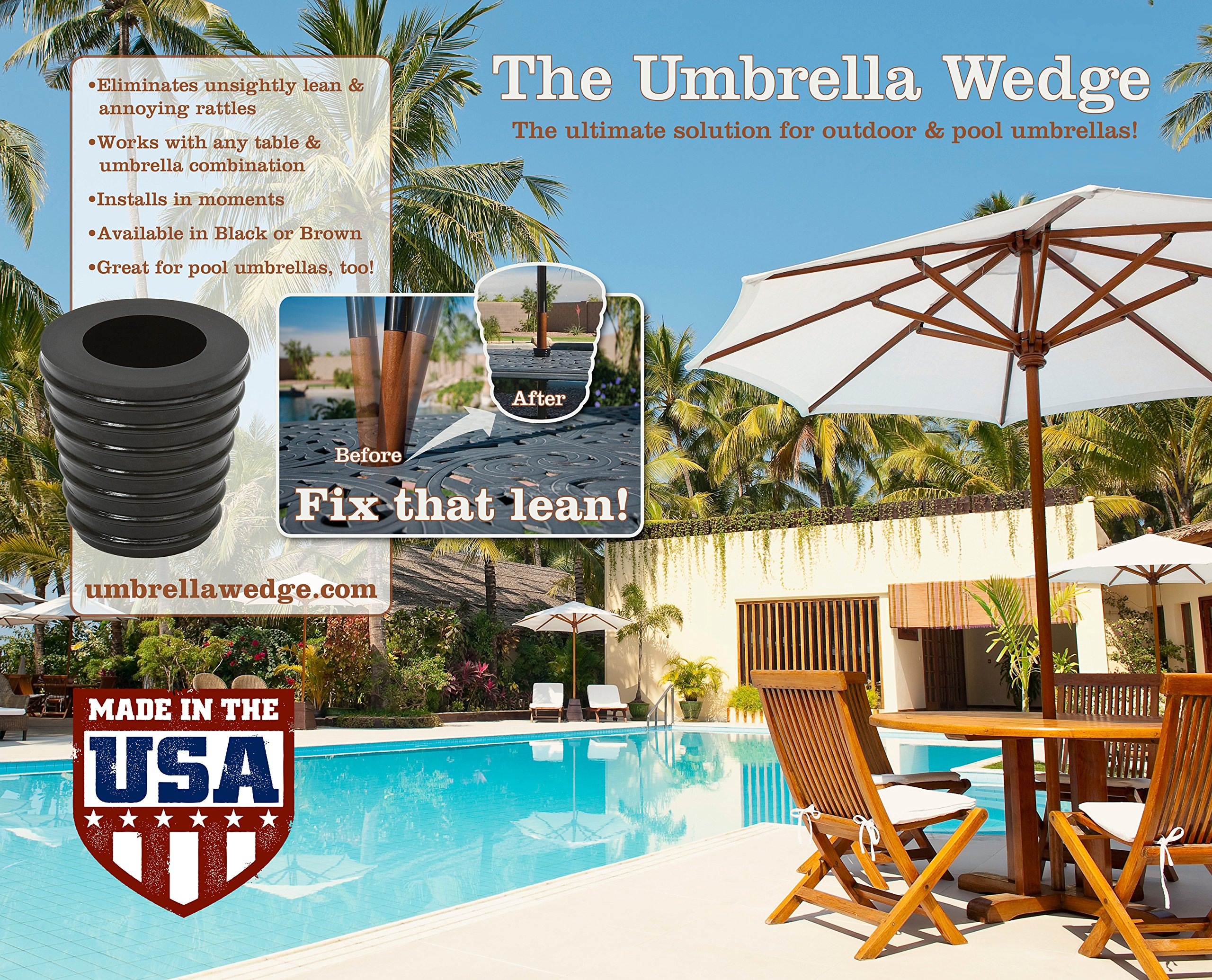 Patio Umbrella Cone (Brown) Fits 1.5'' Umbrella. Weather Resistant Polyurethane. The Original Made in the USA.