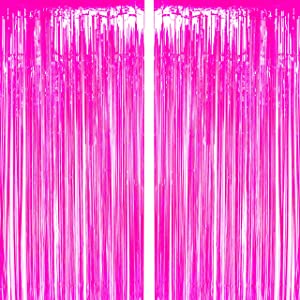 Hot Pink Tinsel Foil Fringe Curtain Bachelorette Wedding Bridal Shower Photo Backdrops Party Decor Baby Shower Girls First Birthday Photo Booth Props Backdrops Decorations
